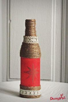 Handmade decorated bottle/vase #DecoupArt #decoupage #handmade #decoration #decorative #art #bottle #vase #kézműves #kézművesség