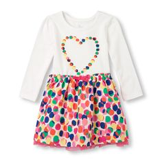 Toddler Girls Long Sleeve Heart and Dot Print Dress