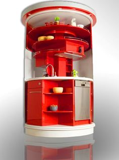 Rotating Kitchen for a condo offers tons of hidden storage space and takes up little room.