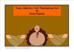 FREE Noun, Adjective, Verb Thanksgiving Sort using Thanksgiving Words