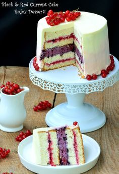 Black and red currant cake. Romanian Desserts, Cake Recipes, Dessert Recipes, Torte Cake, Just Cakes, Pastry Cake, Something Sweet, Beautiful Cakes, Yummy Cakes