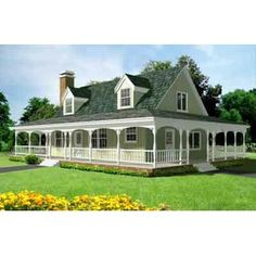 Rhodes Country Home   Farmhouse plans, Country style and Porch