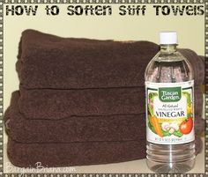 Soften Towels with Vinegar Just add around 1 cup during the rinse cycle or put in your fabric softener slot in your washing machine