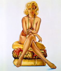 Mel Ramos is best known for his pin-up girls who he usually portrays in close physical contact with a branded product. They often caress a bottle, emerge from a chocolate wrapper, or are found sitting atop a box of cheese or crackers. These images can be seen as a parody, or arguably a more honest representation, of how the female sex is used to sell almost everything.