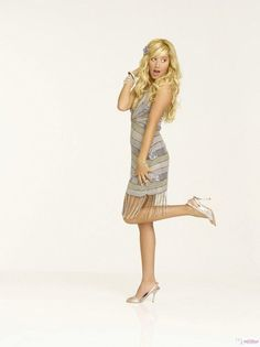 Sharpay Evans and Marciano Guess Silver Starlite Sequins Dress Photograph