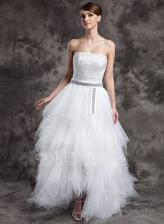 A-Line/Princess Strapless Asymmetrical Tulle Prom Dress With Beading Sequins Cascading Ruffles (018015016) - JJsHouse