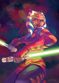 "cassaru:  "" So since it's #ahsokalives day, and since the fanzine has been all printed and shipped off, I thought I'd finally drop the whole picture I did for the Star Wars Fanzine earlier this year!  I'm so hype for the Ahsoka panel– just a few hours..."