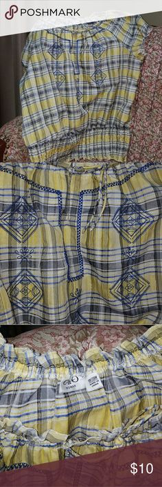 Cotton Summer Top Yellow, white, navy plaid with navy pattern embroidered on front.   Elastic neckline and bottom with very loose fit.  Very good condition. Cato Tops Blouses