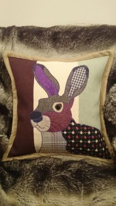 Handmade fabulous Crocus Hare cushion spring by weaselsworkshop