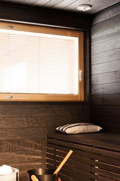 Polar-kohteen sauna on käsitelty Supisaunalla Sauna Design, Sauna Room, Spa Rooms, Shabby Chic Interiors, Western Red Cedar, Extra Seating, Garden Furniture, Simple Designs, Blinds