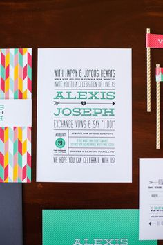 Modern Arrows, Chevron, and Hearts Wedding Invitation with Typography Design