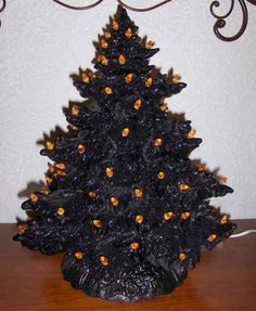 ceramic christmas tree painted black ultra fine black glitter on branch ends pictures don