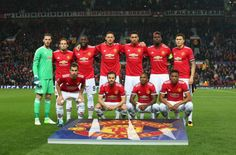 The Players Of Manchester United Line Up Prior To The Uefa Champions League Group A Match Between Manchester Unit Manchester United Champions League Manchester