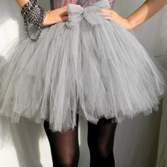 Lolita Style Light Gray Sort Tulle Skirt For Women With Bow Elastic Mini Tutu Skirt Puffy New Arrival Color Size Free