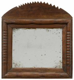 Southern Folk Art Mirror probably Tennessee or Virginia, 19th century, arched serrated crest and split-spindle frame, probably original mirror plate, poplar backboard, 13-1/2 x 15 in.