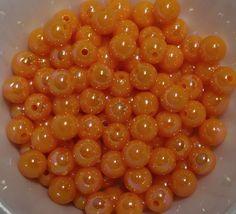 100 pieces 8mm AB Shiny Acrylic orange Beads by PegsClayGround