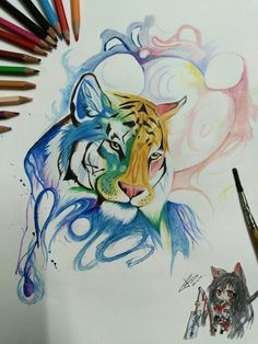 Water coloured lion drawing @him-mib Lion Drawing, Watercolor, Drawings, Demon, Animal Tattoo, Lion Art, Art, Anime