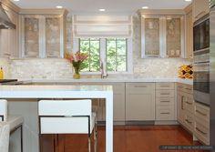 White onyx subway kitchen backsplash tile from Backsplash.com