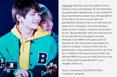Taehyung told everyone at the 3rd Muster today, that his Grandmother has past away. I am so proud of him. How can someone be so strong? All I want to do is give him a hug like Jimin^ YOU'RE A BRAVE YOUNG MAN FOR ENDURING SO MUCH! YOU HAVE TOUCHED PEOPLES HEARTS NEAR AND FAR! ALL MY LOVE TO YOU AND YOUR FAMILY! I hope your Grandmother rests in peace and I hope you continue to be the inspiration you are. Thank you for sharing with us, even though you didn't have to 태태 사랑해요 ❤❤❤ (131116) #BTS…