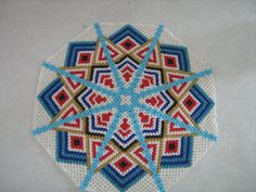 vintage seed bead doily doilie trivet starburst by MARYZCREATION, $10.00