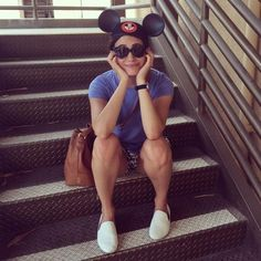 EMMY ROSSUM - Wearing a Mickey Mouse Club hat at Disneyland