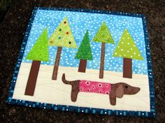 "Mug rug  ""looking for the perfect tree"""