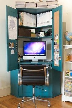 Keep your home office space in a cupboard if you don't have a spare room for one. This is a great example of how organised and neat it can look. #office #savingspace #decor