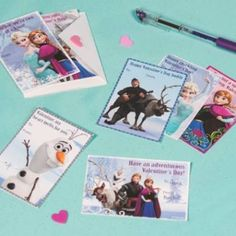 Frozen Valentines Day cards.  Send a sweet Valentine's Day card that'll melt the coldest heart. These adorable printable notes feature Olaf, Anna, Elsa and the rest of your favorite characters from Disney's Frozen.