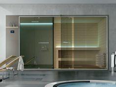 Sauna / turkish bath ETHOS By Gruppo Geromin design Franco Bertoli Saunas, Bathroom Plants, Small Bathroom, Bathroom Ideas, Vanity Shelves, Pool Sizes, Sauna Room, Turkish Bath, Industrial Bathroom