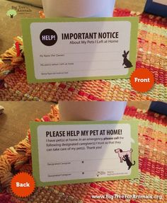 Emergency Pet Alert cards for your wallet