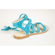 Cornetti Recommone Blue Suede Gladiator Sandals ($275) ❤ liked on Polyvore featuring shoes, sandals, laced up gladiator sandals, laced sandals, suede lace up sandals, summer sandals and roman sandals