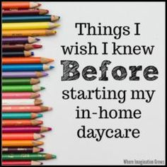 Things I wish I knew before I started my in home daycare! Tips and advice on common issues facing new daycare providers and moms who are starting and running a home daycare Daycare Setup, Kids Daycare, In Home Daycare, Daycare Ideas, Daycare Design, Daycare Organization, Daycare Forms, Opening A Daycare, Daycare Business Plan