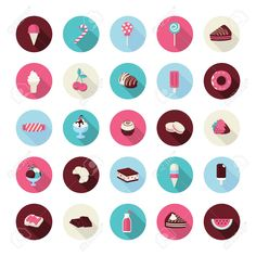 Conjunto de iconos planos del diseño de postre Iconos de tortas, pasteles, dulce de panadería, magdalena, helado, frutas, dulces, chocolate, zumo y piruletas para restaurantes, cafés, repostería, pastelería, fabricante de la torta, tienda en línea, eventos Foto de archivo - 26593101