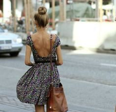 Floral open back dress