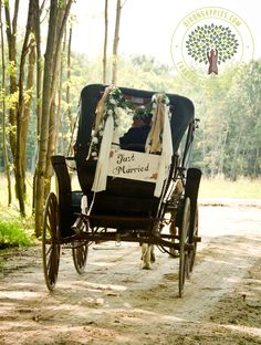 """Get whisked away on a horse-drawn carriage after your """"I do's.""""   Dixon's Apple Orchard and Wedding Venue, Cadott, Wis."""