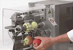 An automated apple peeler used in restaurants.