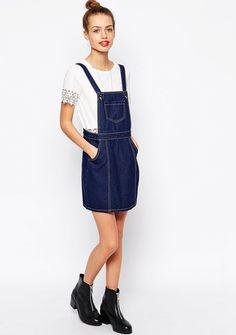 Glamorous Petite Denim Pinafore Dress via @WhoWhatWear