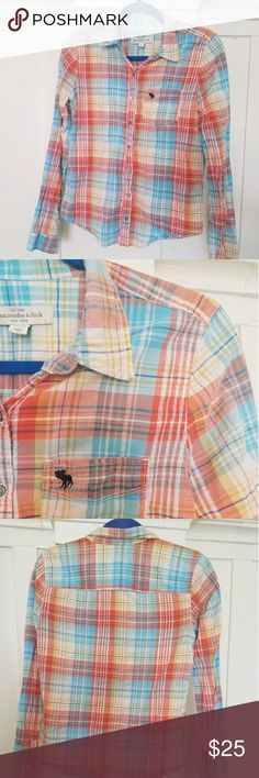 Abercrombie & Fitch Sunrise Plaid Long Sleeve Beautiful Colors Intertwined through a Plaid Design. Comfortable Top that is Perfect for Sunny Weather. Abercrombie & Fitch Tops
