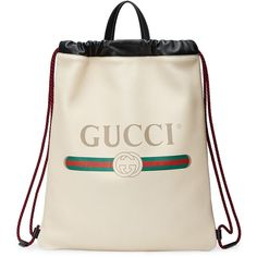 Gucci Gucci Print leather drawstring backpack ($1,680) ❤ liked on Polyvore featuring bags, backpacks, white, leather handbag tote, leather totes, drawstring backpack, white leather tote bag and backpack totes