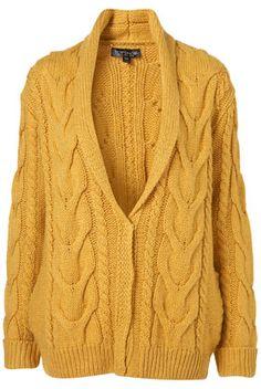 topshop knitted aran collar cardigan