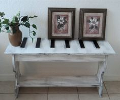 Too Much fun! Music Lovers Unique 3D Coffee Or Entry Table, Rustic Wooden Bench, Plant Stand, YOU CHOOSE COLOR