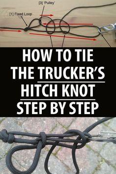 Survival Essentials, Survival Prepping, Survival Skills, Survival Supplies, Survival Hacks, Paracord Knots, Rope Knots, Tie The Knots, Truckers Knot