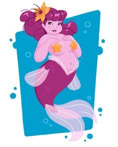Mermaid chubby mermaid starfish red pink #mermay #mermaid #pinup