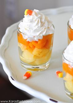 Halloween Candy Corn Fruit Parfait Recipe! - Kara's Party Ideas - The ...
