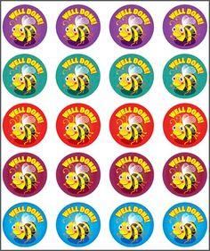 Bee Well-done! Stickers. Teacher sticker pack. Contains 100 sticker. Merit award.