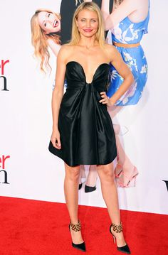 Cameron Diaz wears a plunging Stella McCartney dress and Manolo Blahnik heels to the L.A. premiere of The Other Woman