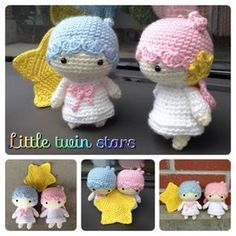 "Free pattern : Crochet Little Twin Stars Kiki Lala Doll by ""DDs Crochet""  translation needed༺✿Teresa Restegui http://www.pinterest.com/teretegui/✿༻"