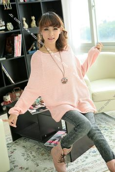Ladies Batwing Round Neck Knitted Pullover Casual Sweater