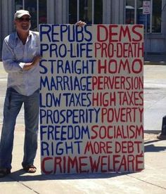 Republicans vs. Democrats. This guy seems like a jerk. He seriously needs to learn some things about politics and human rights. |   See More about human rights, take that and this man.
