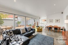 Bespoke real estate photography and video for inner city Melbourne's most prestigious properties. Polished Concrete Flooring, Real Estate Photography, Open Plan Living, Living Rooms, Couch, Creative, Furniture, Home Decor, Lounges